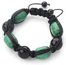 绿松石黑玛瑙皮绳手链
