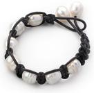 白珍珠手链 单层皮绳款