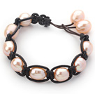 粉珍珠手链 单层皮绳款