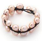 双层粉珍珠皮绳手链