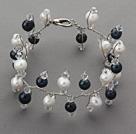 黑白珍珠水晶手链
