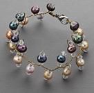 彩色珍珠水晶手链