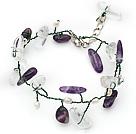 紫晶白水晶珍珠手链