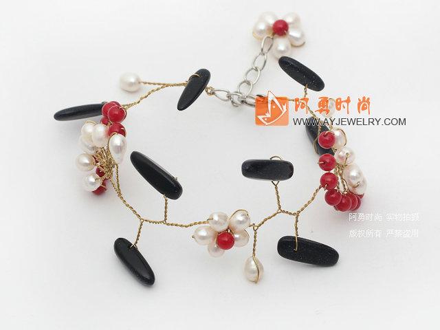 珍珠珊瑚蓝砂石手链
