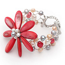 珍珠贝壳花朵手链 唯美款