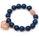 蓝玛瑙手链手串配玫瑰金色镂空圆球镂空桃心 单圈圆珠带坠弹力线款