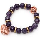 紫水晶手链配玫瑰金色镂空圆球镂空桃心 单圈圆珠带坠弹力线款