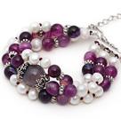 珍珠手链 紫玛瑙手串 多层多圈手排