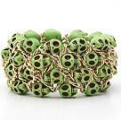 彩色绿色松石手链 骷髅弹力手环 手排
