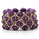 彩色紫色松石手链 骷髅弹力手环 手排