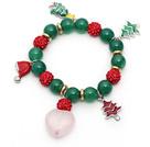 绿玛瑙粉晶红色水钻球圣诞节手链 单圈圆珠带坠弹力线款