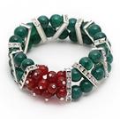 红玛瑙绿玛瑙圣诞节手链  配合金水钻隔片 双层款弹力线款