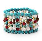 松石珊瑚珍珠虎眼石手环手链手串 多层款