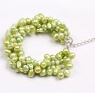 黄绿色珍珠多层手链