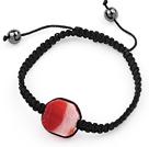 红色爆花玛瑙手环手串手链 单层编织绳款