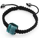 蓝绿色巴西条纹玛瑙手环手串手链 单层编织绳款