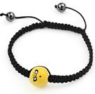 磁珠表情手链手串手环配钨钢石 单层编织绳款
