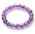 10mmA级天然紫晶圆珠弹力手链