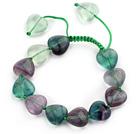 心形紫萤石手链 长度可调节 单层编织绳款