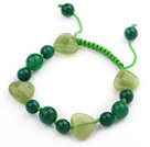 绿玛瑙心形橄榄玉手链手环 长度可调节 单层编织绳款