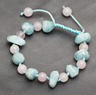 冲角海蓝宝粉水晶手链手环 长度可调节 单层编织绳款