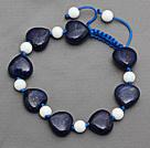 心形青金石 白瓷石手链手环 长度可调节 单层编织绳款