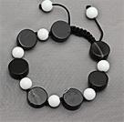 白瓷石黑玛瑙手链手环 长度可调节 单层编织绳款