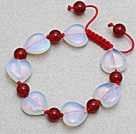 心形蛋白石红玛瑙手链手环 长度可调节 单层编织绳款