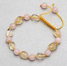 粉水晶黄水晶手链手环 长度可调节 单层编织绳款