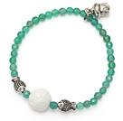 绿玛瑙砗磲手链 配藏银佛头小鱼 单圈圆珠带坠弹力线款