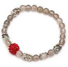 灰玛瑙手链 手环 配红色水钻球 单圈圆珠弹力线款