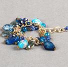蓝色系水晶琉璃蓝玛瑙手链
