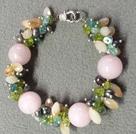 黑珍珠粉玉橄榄石手链