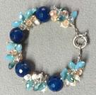 白珍珠蓝玛瑙蓝水晶手链