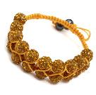 黄色水钻球手链 手环 可调节 配黄绳 (特彩)