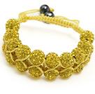 金黄色水钻球手链 手环 可调节 配黄绳 (特彩)