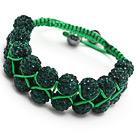 深绿水钻球手链 手环 可调节 配绿绳 (特彩)
