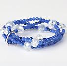 蓝玉 人造白水晶手链 多层缠绕款