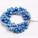蓝色珍珠多层手链