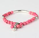 粉色松石 藏银手串 单圈圆珠带坠弹力线款