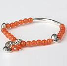 橘色猫眼石 藏银手串 单圈圆珠带坠弹力线款