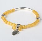 黄色猫眼石 藏银手串 单圈圆珠带坠弹力线款