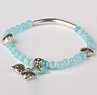 天蓝色猫眼石 藏银手串 单圈圆珠带坠弹力线款