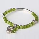 绿色猫眼石 藏银手串 单圈圆珠带坠弹力线款