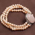 5-6mm珍珠芙蓉石三层手链