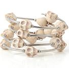 白色松石骷髅手链 多层缠绕弹簧款