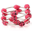 粉红色松石骷髅手链 多层缠绕弹簧款