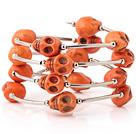 橘黄色松石骷髅手链 多层缠绕弹簧款
