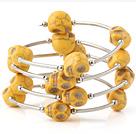 黄色松石骷髅手链 多层缠绕弹簧款