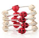 彩色松石骷髅手链 多层缠绕弹簧款